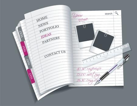 web side: Web de la plantilla del sitio - hoja de papel con marcadores de colores