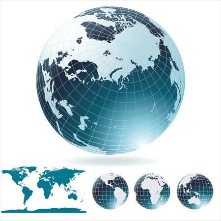antartide: Mappa del Globe e il dettaglio del mondo.