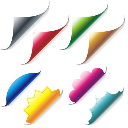 turn the corner:   Conjunto de color rizado esquinas de papel brillante
