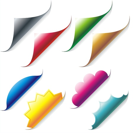 Set of color curled glossy paper corners  Illustration