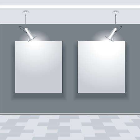 Gallery Interior with empty frames on wall  Stock Vector - 10042403