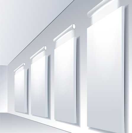 Gallery Interior with empty frames on wall Stock Vector - 10042390