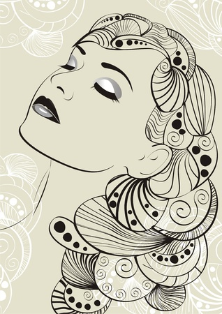 glamour woman elegant: Vector girl with long hair