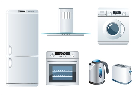 white goods:   Vector set of home appliances icons Illustration
