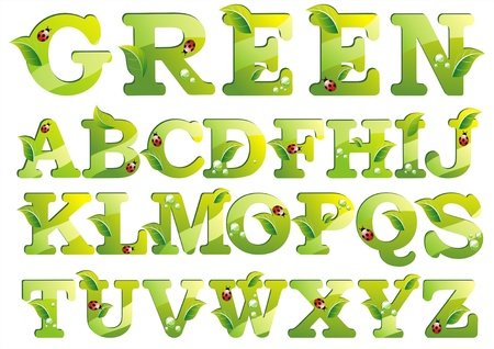 grass font: Letters with green leaf alphabet isolated on white background