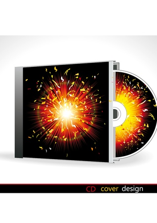 CD Cover Design with 3D Presentation Template Vector
