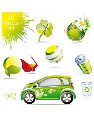 hybrid car: conceptual green symbols