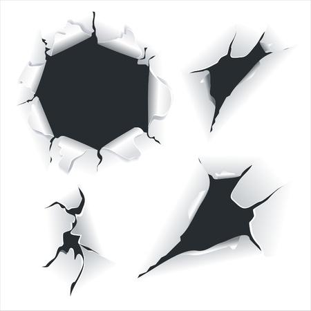 gaten: Close-up van een donkere gaten op wit papier ingesteld.Gebroken papier