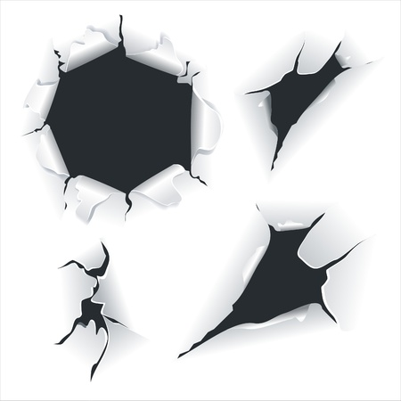 Closeup of a dark holes on white paper set .Broken paper Vector