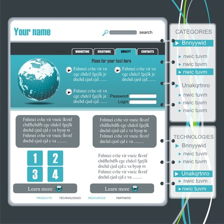 onglet: �l�ments de conception modernes Site Web: Boutons, Formulaire, slider, d�filement, des ic�nes, onglet, Menu, barre de navigation