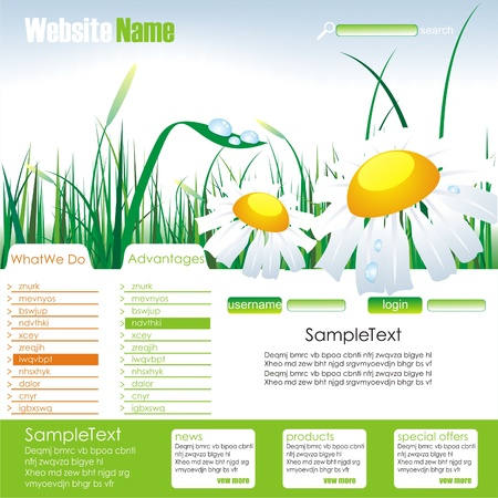 daisy wheel: Website template. Summe and eco design.