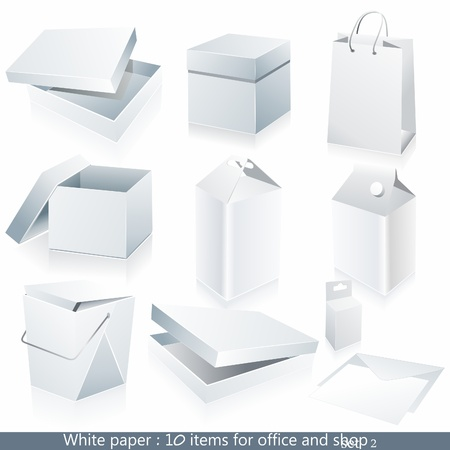 software company: Set of white paper - packaging and stationery elements.
