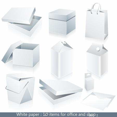 papeteria: Zestaw białym papierze - opakowania i papeterii elementy.