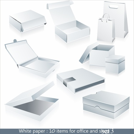 Set of  white paper - packaging and stationery elements.  Vector