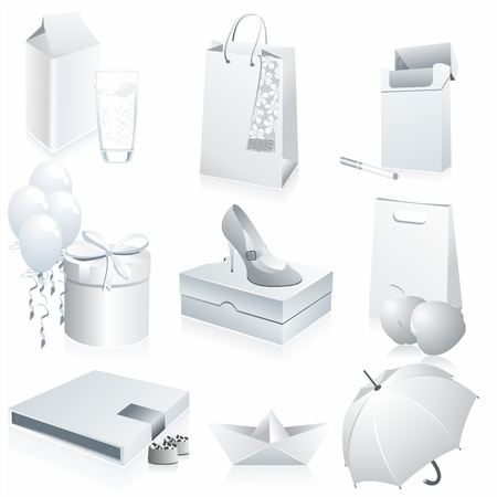cigaret: Set of white paper - packaging and stationery elements.