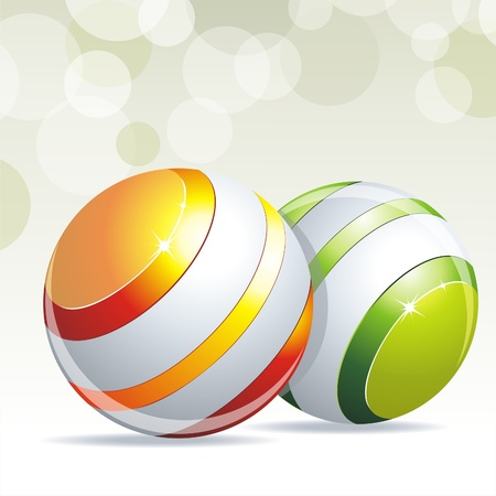 Colorful glossy spheres isolated on white Vector