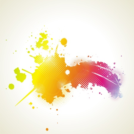 Colorful ink splash banner  Illustration