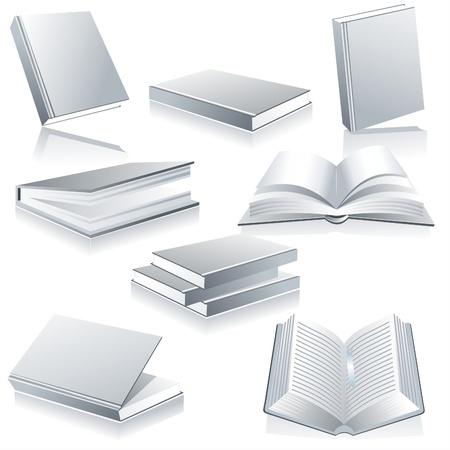 문학의: 도서 광택 흰색에 고립
