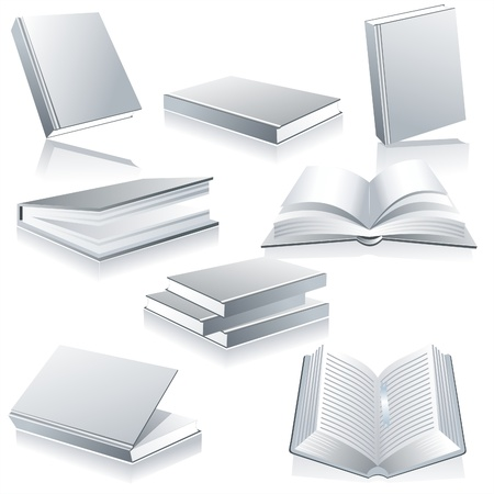 Books isolated on glossy white