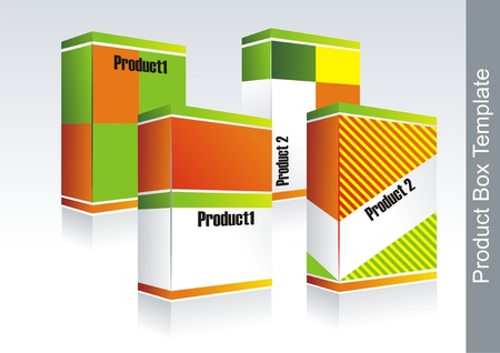 Product box template with different color design