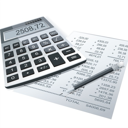 Calculator and pencil on a table of business background