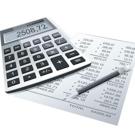 perdidas y ganancias:   Calculadora y lápiz sobre una mesa del Fondo de negocio