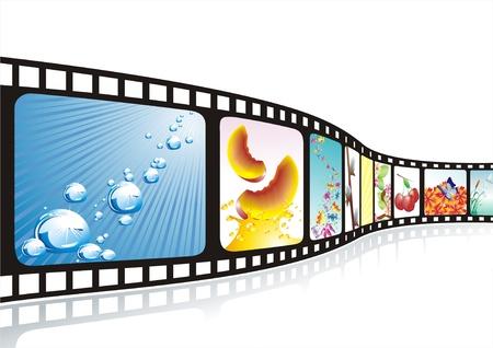 filmnegativ: Hintergrund mit Kino Motive zur Auswahl  Illustration