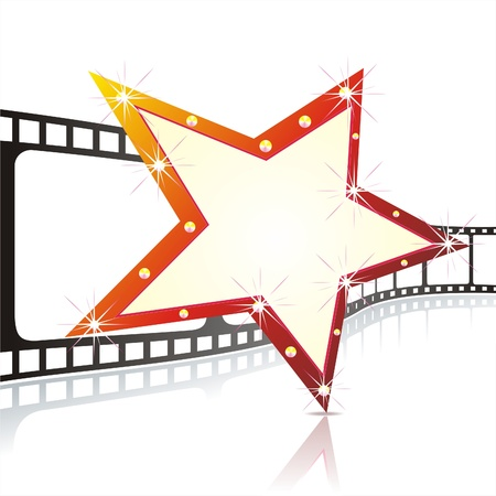 holiday movies:   Star shape neon for poster at cinema event  Illustration
