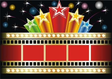 Star shape neon for poster at cinema event  Illustration
