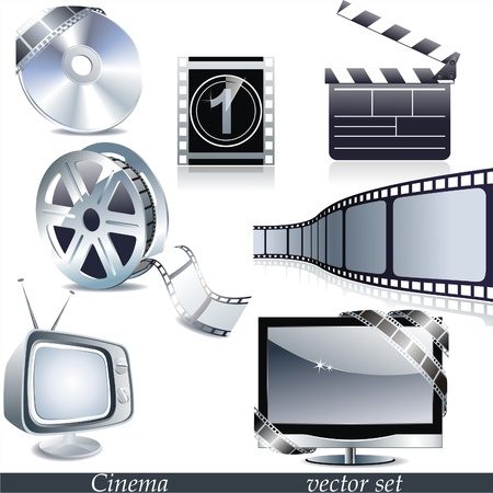 Cinema symbols set isolated on white.  Vector