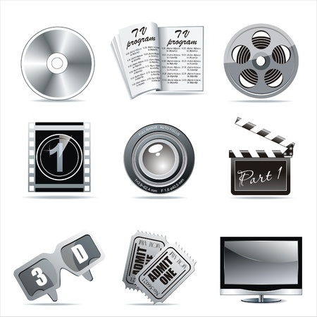 film industry: Cinema symbols set isolated on white.  Illustration