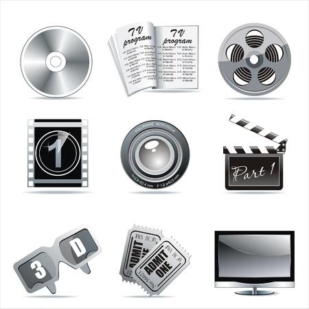 entertainment industry: Cinema symbols set isolated on white.  Illustration