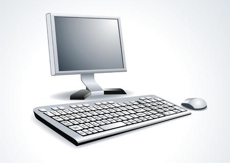 centro de computo: Lugar de Trabajo habitación con ordenador Vectores