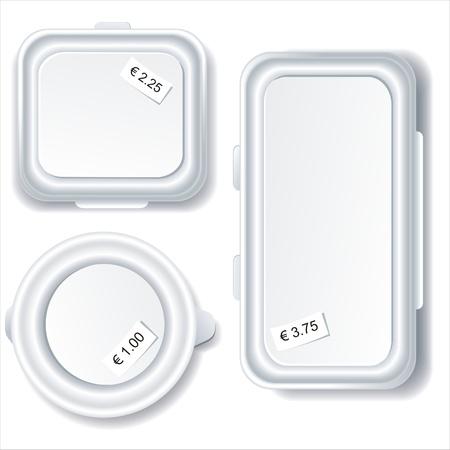 Contenedores de almacenamiento de comida de plástico aislados sobre fondo blanco.  Ilustración de vector