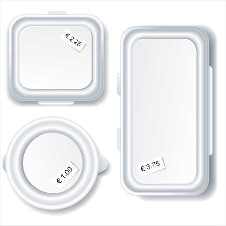 lunch tray:   Plastic food storage containers isolated on white background.  Illustration