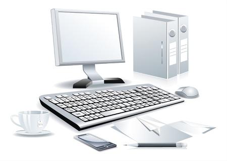 Salle de travail avec l'ordinateur Vecteurs
