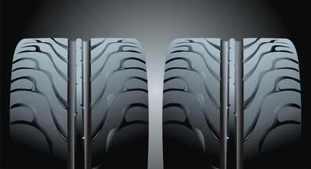 Two tyres on black background  Vector