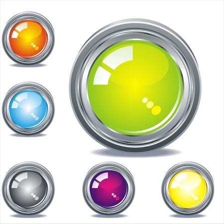 chrome button: Easy to edit web buttons Illustration