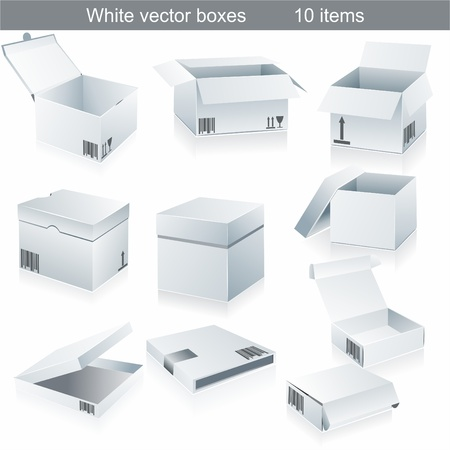 package sending:  Set blank white boxes isolated on white