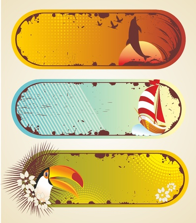 Summer stickers. Travel elements collection with sail, palm and toucan. Stock Vector - 10261111