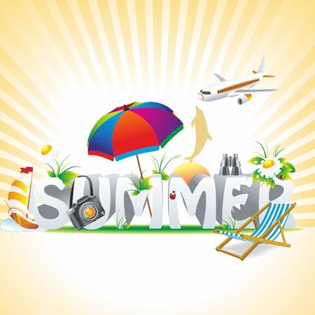 zomer: zomer achtergrond met paraplu, kamille, lieveheersbeestje, een fauteuil en zeil.
