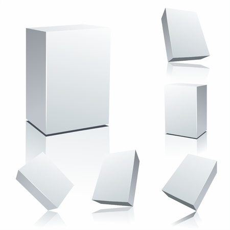 three dimensional shape: Set blank white boxes isolated on white