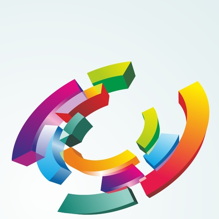 3D glass  abstract background. Color symbol. Vector