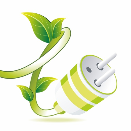 prise de courant: Fiche verte avec des feuilles sur fond blanc. Symbol Eco. Illustration