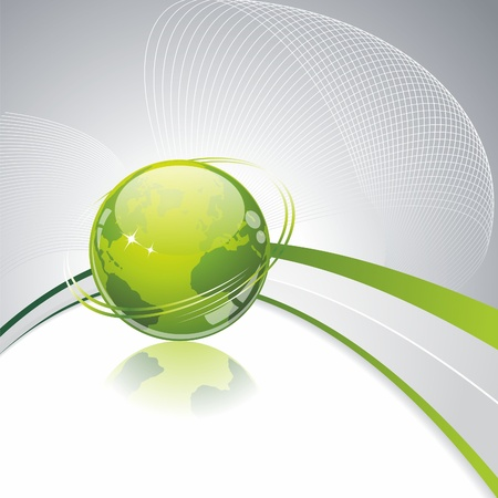 Green globe icon . Eco background with green glass globe.