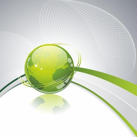 wereldbol groen: Green Globe icoon. Eco achtergrond met groene glazen bol.