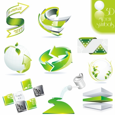 Eco related symbols. 3d green icons . Vector