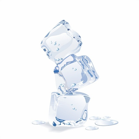 Blue ice cubes isolated on white background.