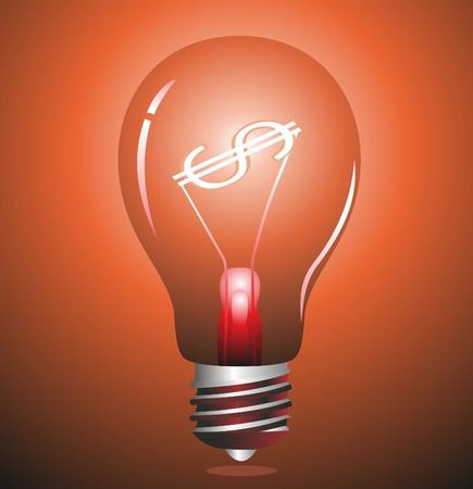 patente: Dinero haciendo la idea. Bombilla de luz con el s�mbolo de d�lar.