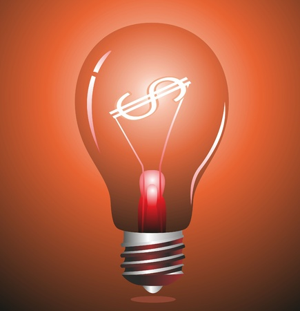 patent: Money making idea. Light bulb with Dollar symbol.